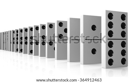 White domino tiles set in a row, isolated on white - stock photo