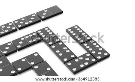 White domino tiles set, isolated on white background - stock photo