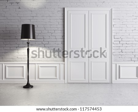 white door and lamp, luxury interior - stock photo