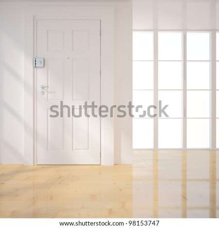 white door in the empty room - stock photo