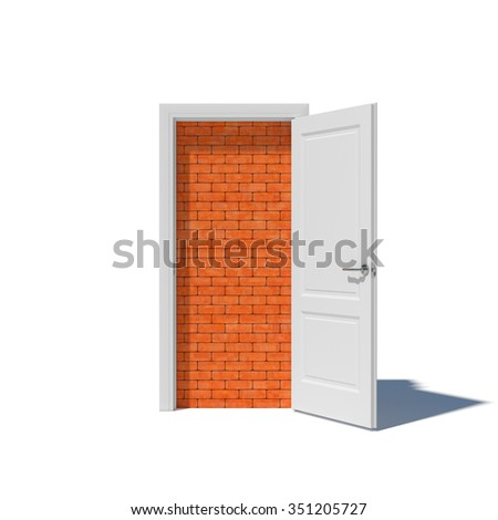 White door with brick wall and shadow isolated on white background. Walled up doorway - stock photo