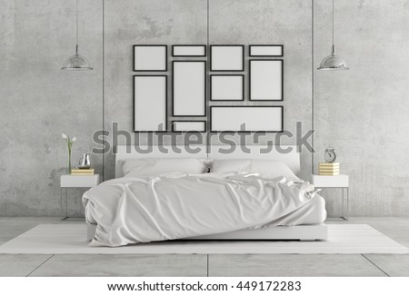 White double bedroom in a concrete interior - 3d rendering - stock photo