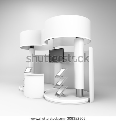 white double stall or booth with tv display - stock photo