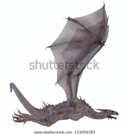 White Dragon - A creature of myth and fantasy the dragon is a fierce flying monster with horns and large teeth. - stock photo