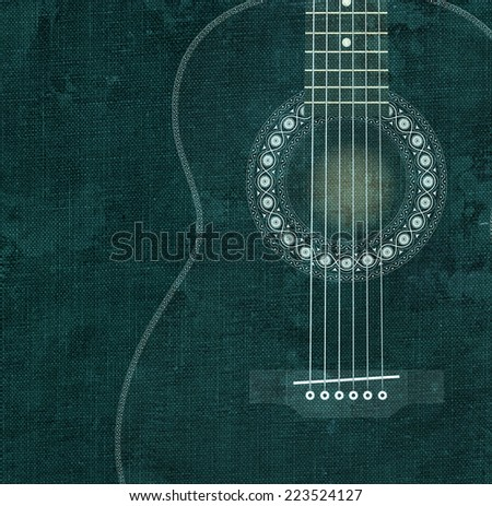 White draw of guitar on canvas texture - stock photo