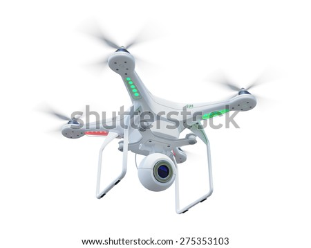 White drone, quadrocopter, with photo camera flying in the blue sky. Concept - stock photo