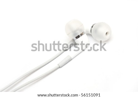 White earphones isolated over white background - stock photo