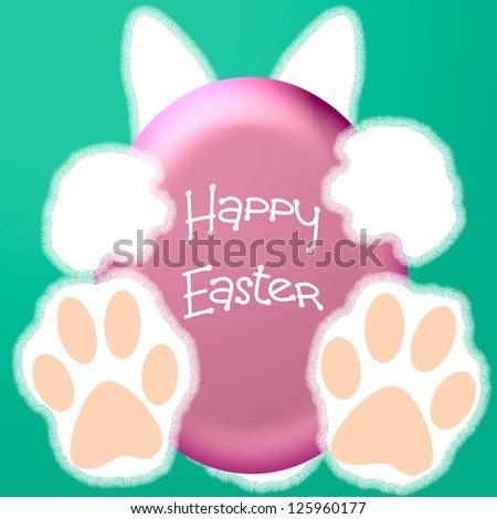 white Easter bunny holding pink egg illustration - stock photo