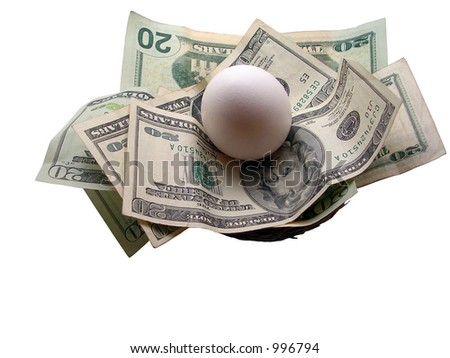 White egg laid on twenty dollar bills inside a nest. Shot on white. - stock photo