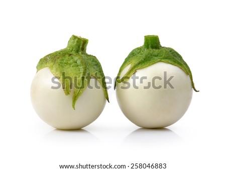 White eggplant on white background - stock photo