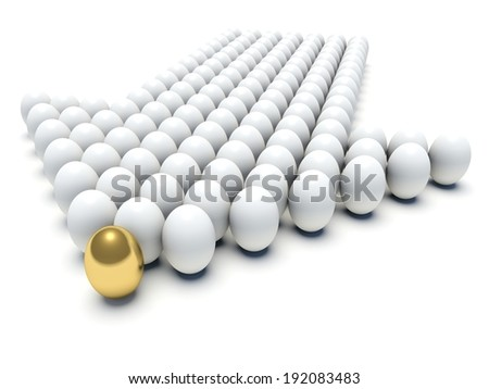 White eggs forming an arrow with golden egg in the first place. Business concept. 3d render illustration. - stock photo