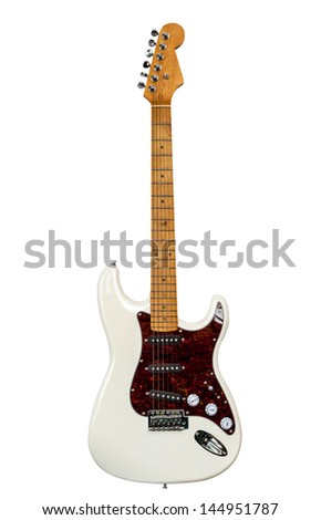White Electric Guitar isolated on white background - stock photo