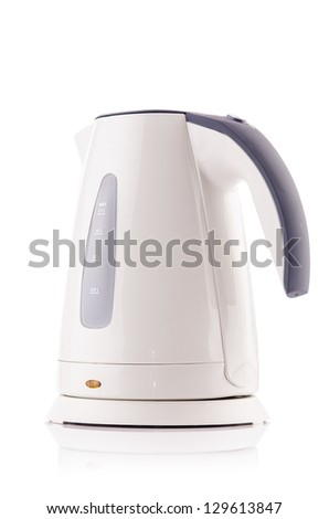 White electric kettle isolated - stock photo