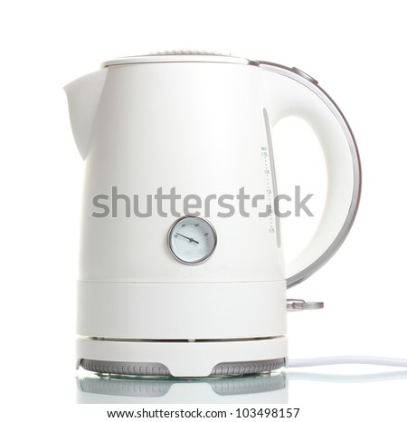 White electric kettle isolated on white - stock photo