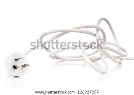 White electrical cord plug isolated on white - stock photo