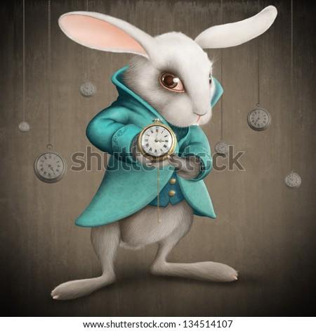 White Elegance rabbit indicates the clock - illustration - stock photo