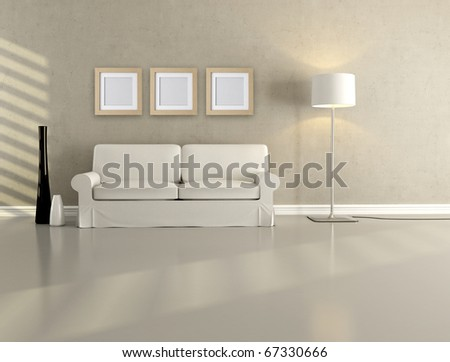 white elegant couch in a minimalist lounge - rendering - stock photo