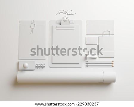 white elements on white paper background - stock photo