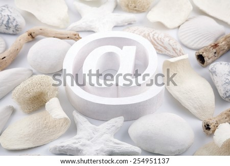White email symbol with potpourri - stock photo
