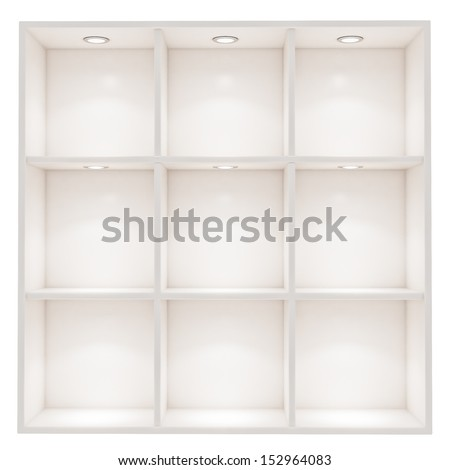 white empty box shelves with spot light isolated on white background - stock photo