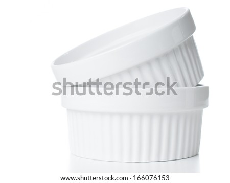 White empty clean ceramic bakeware on a white background, cooking utensils, isolated - stock photo
