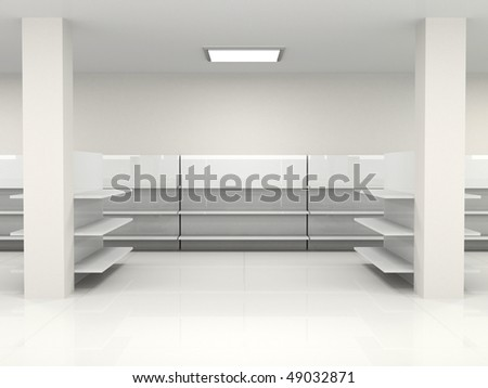 white empty hall with shelf - stock photo