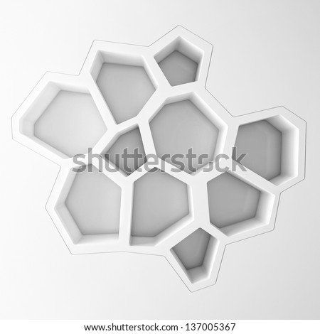 white empty hexagonal shelves - stock photo