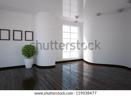 white empty interior - stock photo