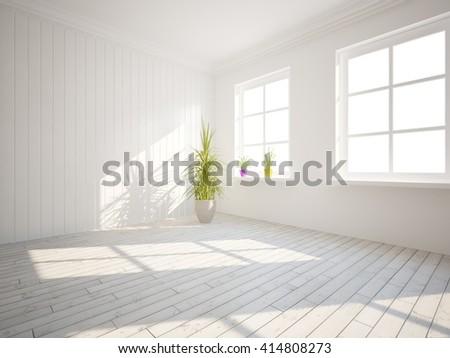 white empty interior design of living room -3D illustration - stock photo