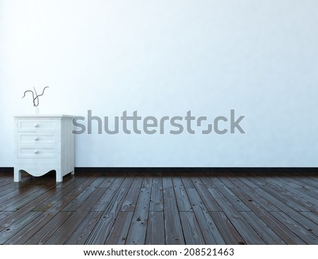 white empty interior with a bedside table - stock photo