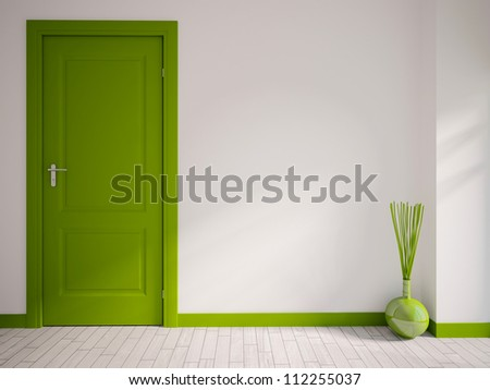 white empty interior with a green door and vase - stock photo