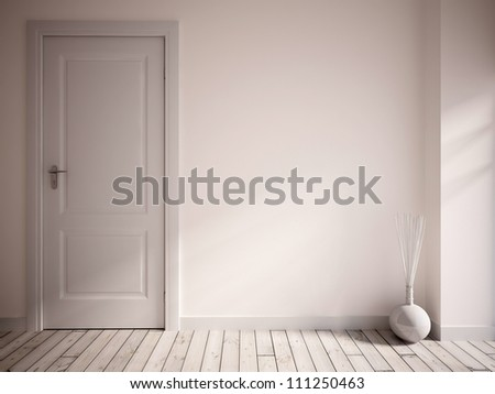 white empty interior with a white door - stock photo