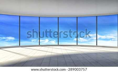 white empty interior with large window. 3d illustration - stock photo