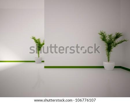 white empty interior with plants - stock photo