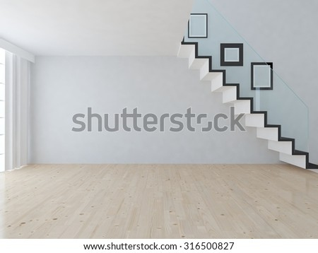 white empty interior with stairs. 3d rendering  - stock photo