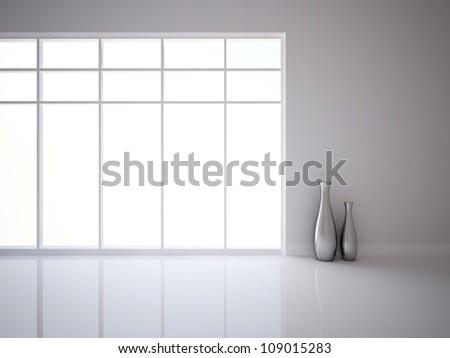 white empty interior with vases - stock photo