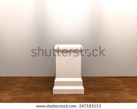 White Empty Pedestal at Gallery Interior Background - stock photo