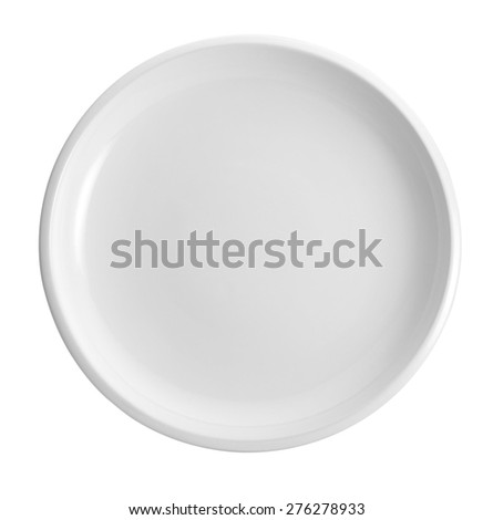 White empty plate isolated on white background - stock photo