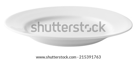 White empty plate isolated with clipping path included - stock photo