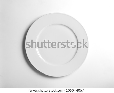 white empty  plate on background white - stock photo