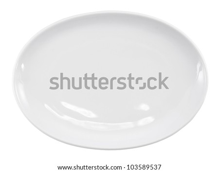 White empty plate ( oval dish ) over a white background. - stock photo