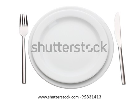 White empty plate with fork and knife isolated on white - stock photo