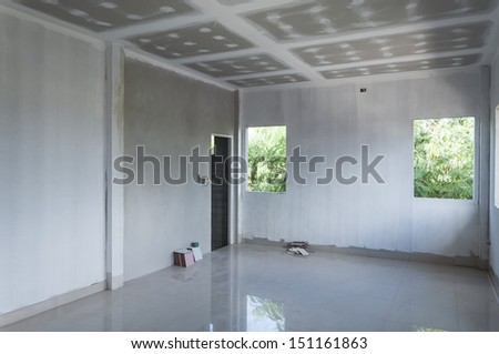 white empty room under construction - stock photo