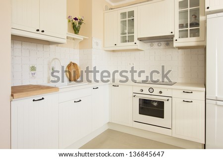 white empty rustic kitchen in antique  style - stock photo