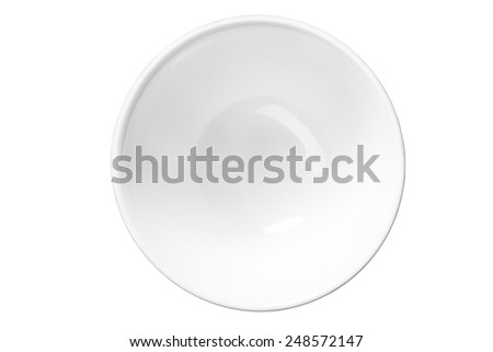 White empty saucer / top-view photos of kitchen accessories - isolated on white background   - stock photo