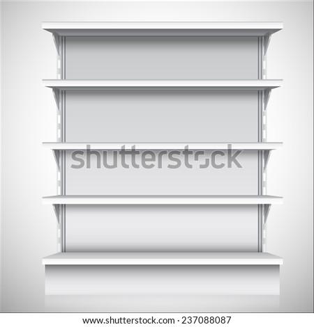 White empty supermarket retail store shelves isolated on white background  illustration - stock photo