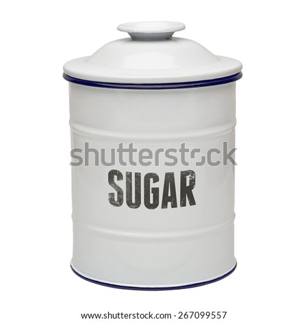 White enamel sugar canister including clipping path - stock photo