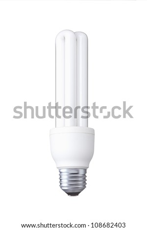 white energy saving bulb, Illuminated light bulb, CFL bulb, Realistic photo image on white background - stock photo