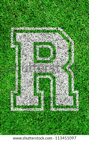 White english alphabet R on green grass - stock photo