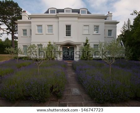 white english house with lavender garden - stock photo